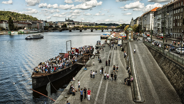 Perfect place for afterwork drinks: Prague's Naplavka embankment