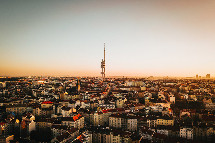 Prague from the sky during sunset including TV Tower