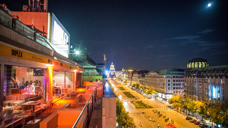 The view of Wenceslas Square from Duplex in Prague